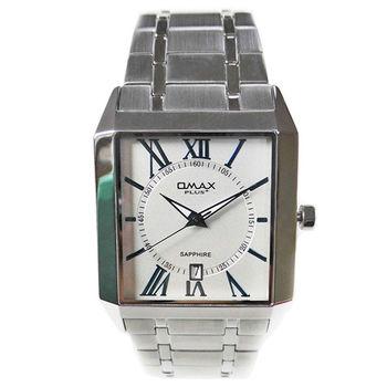 【OMAX】方形精工不鏽鋼石英男錶(銀色)