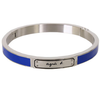 agnes b.  銀色 SPORT 男版手環(藍)