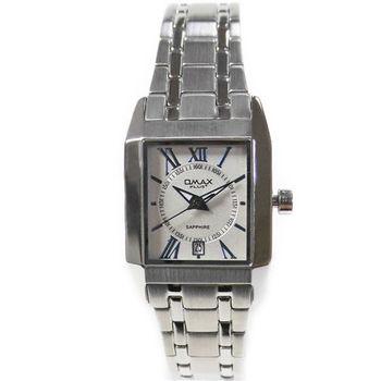 【OMAX】方形精工不鏽鋼石英女錶