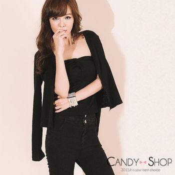 Candy小舖 百搭針織外套+平口扭結短版上衣兩件式