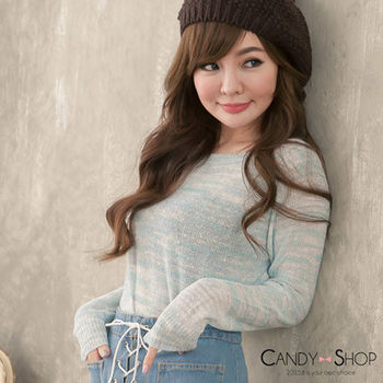 Candy小舖 圓領後開叉撞雪紡針織長袖上衣