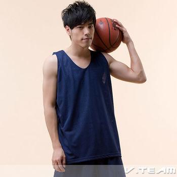 【V.TEAM】雙面穿吸濕排汗籃球背心-藍/3211110380