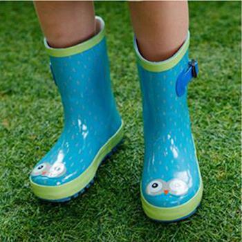 窩自在★韓國原創小眼睛兒童雨鞋-綠色