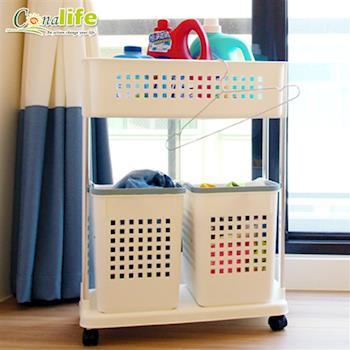 [Conalife]雙層分類洗衣收納籃(1入)