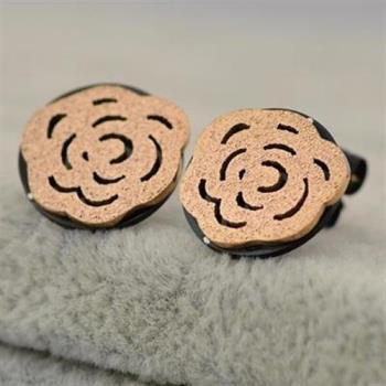 【米蘭精品】玫瑰金磨砂耳環耳針式925純銀茶花