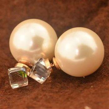 【米蘭精品】玫瑰金珍珠耳環耳針式925純銀韓版水晶