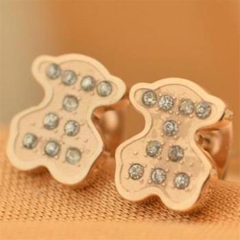 【米蘭精品】玫瑰金鑲鑽耳環耳針式925純銀可愛小熊