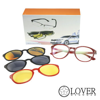 【Lover】磁鐵夾片前掛式-TR90紅色圓框光學眼鏡(K-6831-C2)