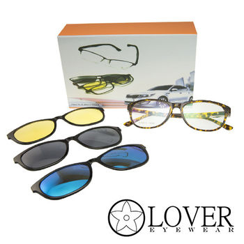 【Lover】磁鐵夾片前掛式-TR90玳瑁方框光學眼鏡(K-6827-C2)