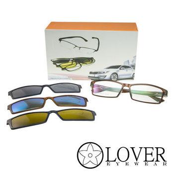 【Lover】磁鐵夾片前掛式-TR90長方咖啡全框光學眼鏡(K-6825-C2)