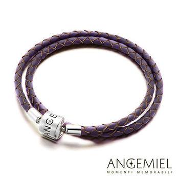 Angemiel安婕米 義大利925純銀珠飾 雙圈皮革手環(紫色)