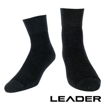 LEADER 除臭去味 紳士素面短筒寬口襪(黑色)