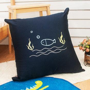 生活提案 精梳棉貼布繡 大抱枕-淘氣貓