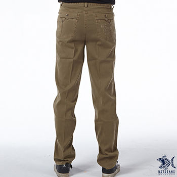 【NST Jeans】390(5412) 褐色直紋 立體層次 微彈休閒長褲 (中腰)