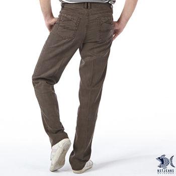 【NST Jeans】390(5417) 咖褐色直紋 天絲棉 斜口袋休閒長褲(中腰)