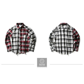 RPTN Vintage Little Plaid Splice Shirt 拼接點點格紋襯衫 / 紅