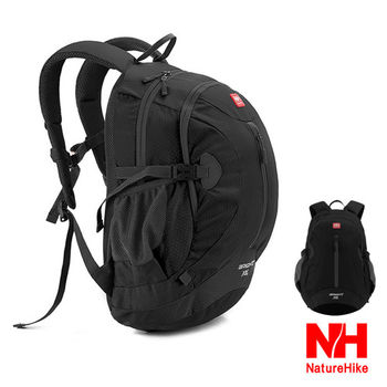 Naturehike 30L輕量護脊防潑水騎行背包.登山後背包(黑色)