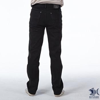 【NST Jeans】380(5441) 純粹黑 修身 窄管 牛仔長褲(中低腰窄版) 小直筒/男/騎士靴