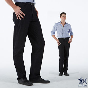 【NST Jeans】390(5456) 藍黑色 清涼節能纖維 咖啡色意象繡 單寧長褲(中腰)微彈/涼爽/商務/休閒