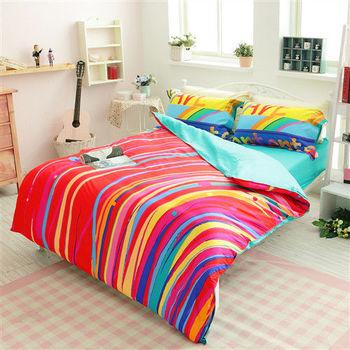 生活提案 精梳棉 時尚印染 雙人四件式被 套被床包組-徜徉紅