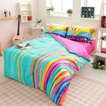 生活提案 精梳棉 時尚印染 雙人四件式被 套被床包組-徜徉綠