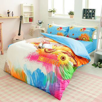 生活提案 精梳棉 時尚印染 加大四件式被 套被床包組-太陽島