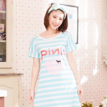 Wonderland ST1607LOVE PINK居家休閒洋裝(藍)