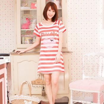 Wonderland ST1607LOVE PINK居家休閒洋裝(紅)