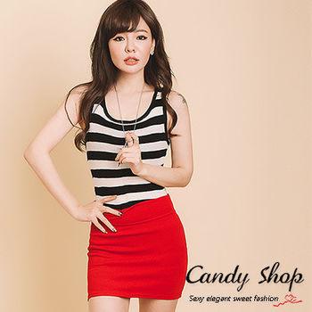 Candy小舖 百搭條紋針織無袖長版背心 4色選