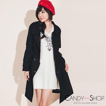 Candy小舖 韓系翻領顯瘦雙口袋腰綁帶軍外套大衣 2色選