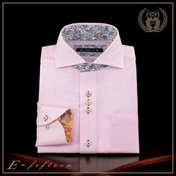 【衣十五 E-fifteen E15】商務長襯衫【合身版】春風粉 細條紋 水平領 好燙抗皺 吸濕排汗 抗UV