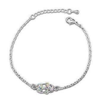 【米蘭精品】925純銀水晶手鍊銀飾獨特簡約骷髏頭造型