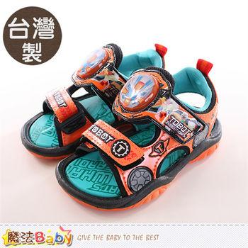 魔法Baby 男童鞋 台灣製機器戰士正版閃燈運動涼鞋~sa66015