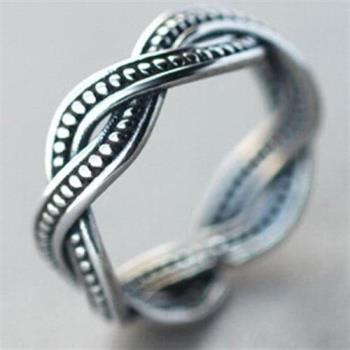 【米蘭精品】925純銀戒指銀飾扭線麻花造型獨特簡約