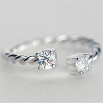 【米蘭精品】925純銀戒指鑲鑽銀飾麻花造型簡約精緻