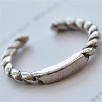 【米蘭精品】925純銀戒指銀飾麻花造型簡約精緻