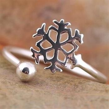 【米蘭精品】925純銀戒指銀飾雪花造型時尚吸睛