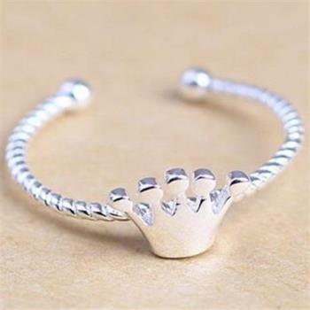 【米蘭精品】925純銀戒指銀飾皇冠造型經典唯美