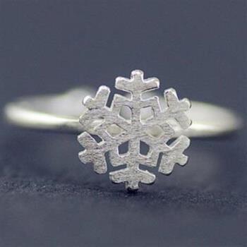 【米蘭精品】925純銀戒指銀飾雪花造型清新