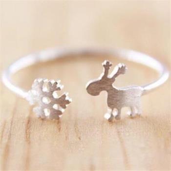 【米蘭精品】925純銀戒指銀飾雪花小鹿造型可愛迷人
