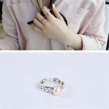 【米蘭精品】925純銀戒指珍珠銀飾麻花造型氣質