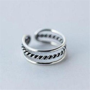 【米蘭精品】925純銀戒指銀飾麻花造型氣質迷人