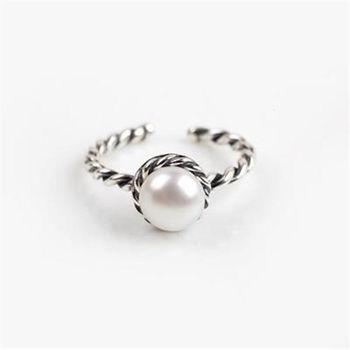 【米蘭精品】925純銀戒指珍珠銀飾麻花造型精緻