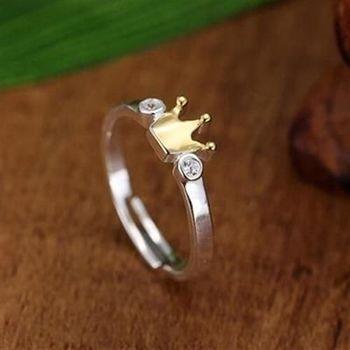 【米蘭精品】925純銀戒指鑲鑽銀飾皇冠造型高貴精緻