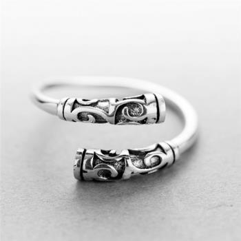 【米蘭精品】925純銀戒指銀飾金箍棒造型經典