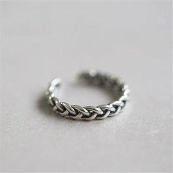 【米蘭精品】925純銀戒指銀飾麻花造型簡約獨特
