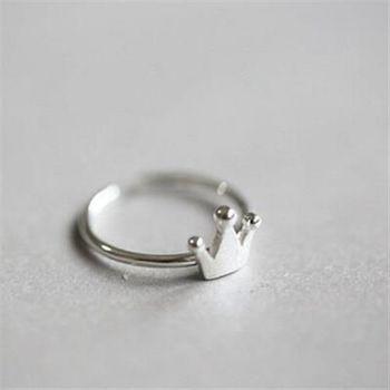 【米蘭精品】925純銀戒指銀飾皇冠造型簡約迷人