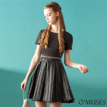 【OMUSES】歐美皮革修身洋裝28-8683-2(S-2L)