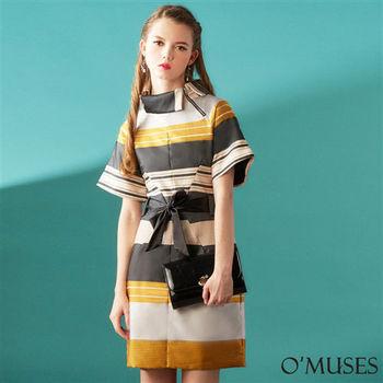 【OMUSES】歐美拼接宴會洋裝28-1047(S-2L)