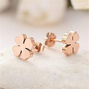 【米蘭精品】玫瑰金耳環耳針式925純銀韓國四葉草